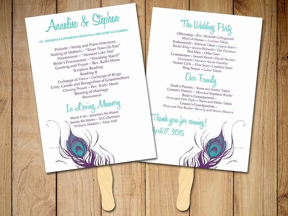 "Diy Wedding Program Fan Templates Beautiful Diy Wedding Program Fan Template Ceremony Program ""peacock"