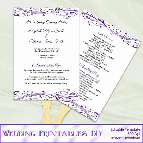 Diy Wedding Program Fan Templates Best Of Items Similar to Purple Wedding Program Fan Template Diy
