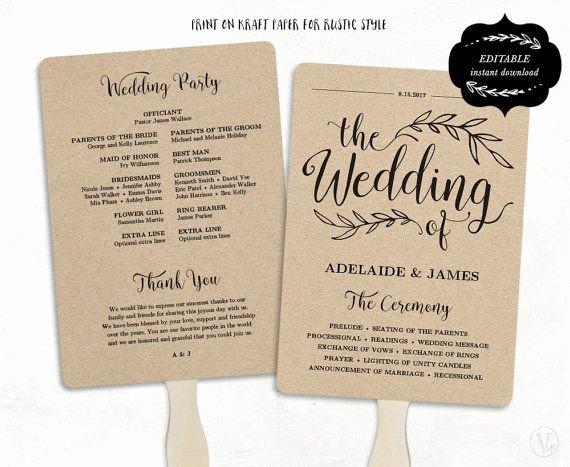 Diy Wedding Program Fan Templates Fresh Printable Wedding Program Template Rustic Wedding Fan