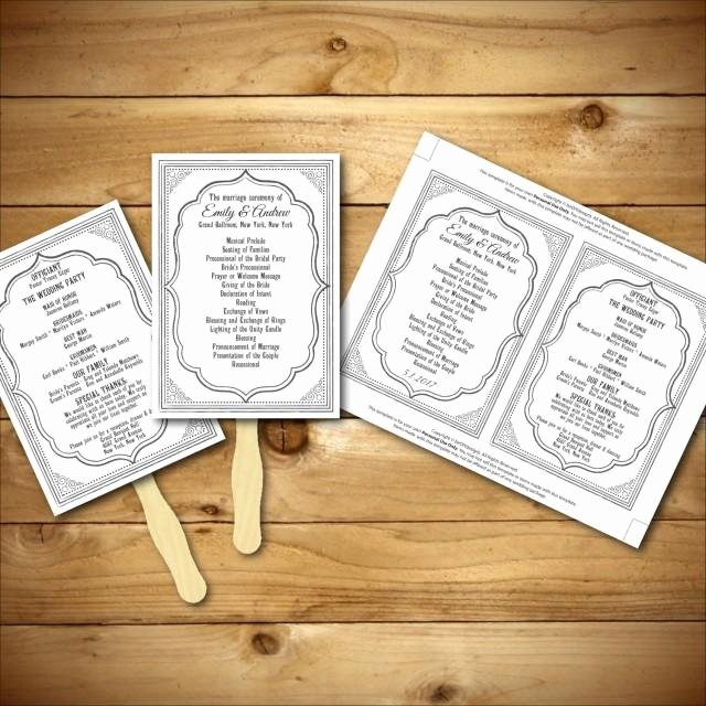 Diy Wedding Program Fan Templates Inspirational Wedding Program Template Printable Wedding Program Diy