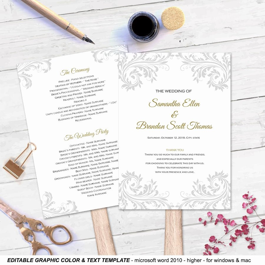 Diy Wedding Program Fan Templates Luxury Diy Wedding Fan Program Fan Wedding Program Templates