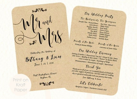 Diy Wedding Program Fan Templates Luxury Wedding Fan Program Template Mr and Mrs Kraft by
