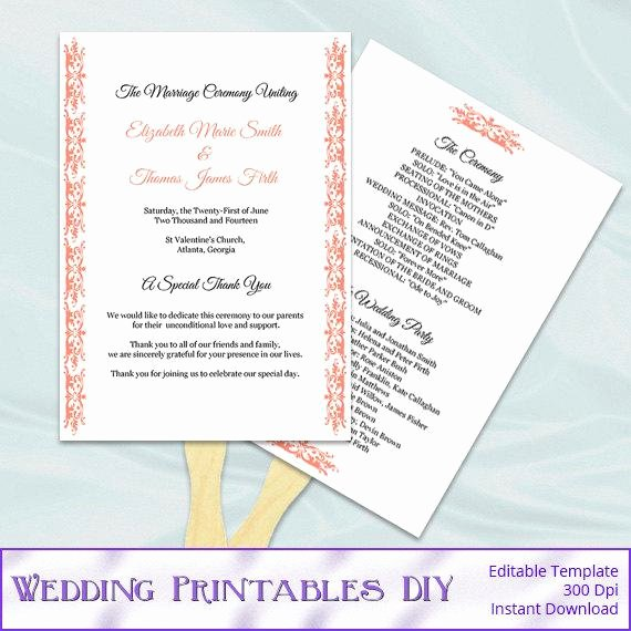 Diy Wedding Program Fan Templates Unique Items Similar to Coral Wedding Fan Programs Templates
