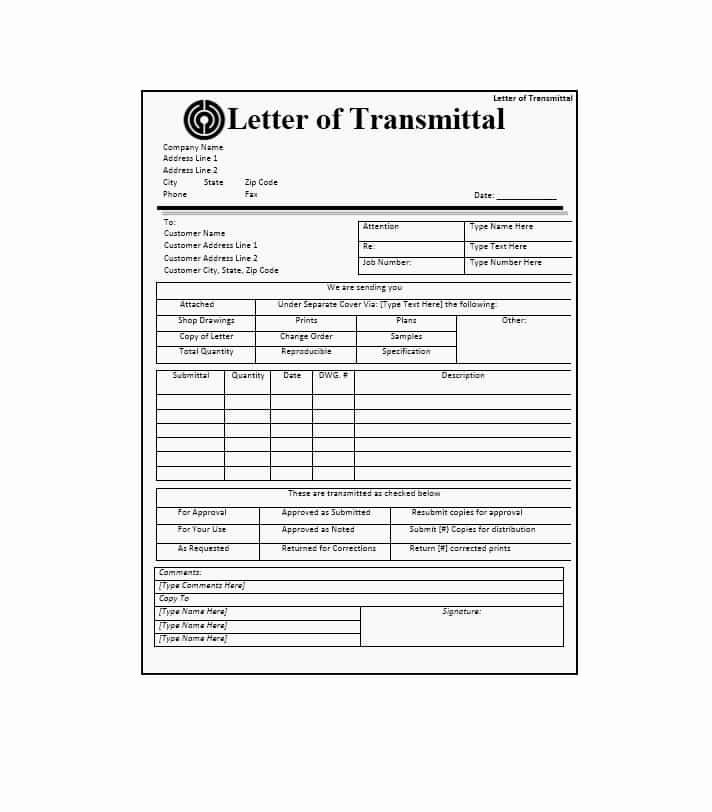 Document Transmittal form Template Inspirational Letter Of Transmittal 40 Great Examples & Templates