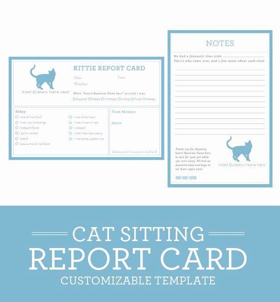 cat sitting report card template