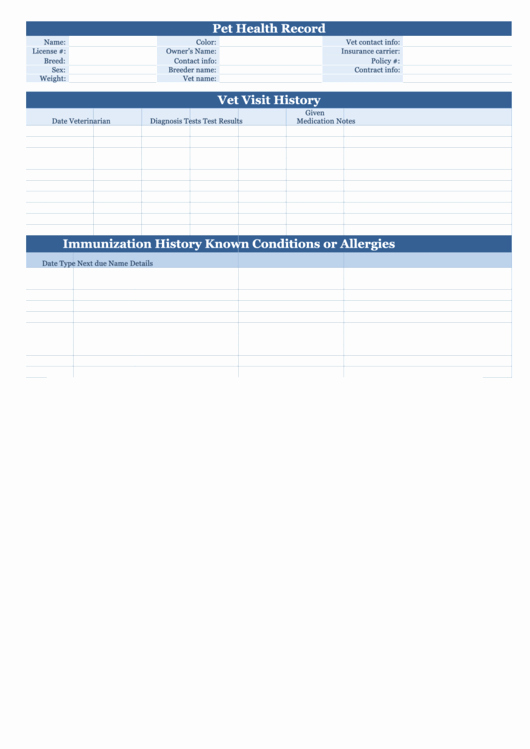 Dog Health Record Template Beautiful Pet Health Record form Printable Pdf
