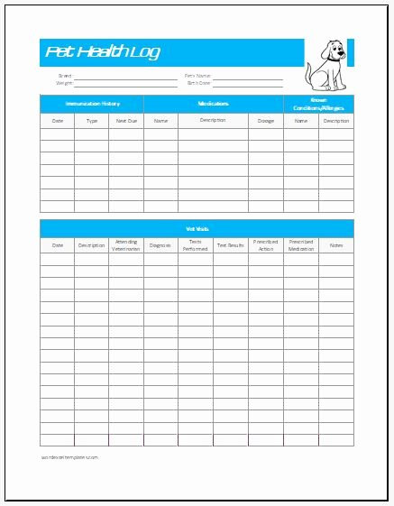 Dog Health Record Template Best Of Pet Health Log Template for Excel