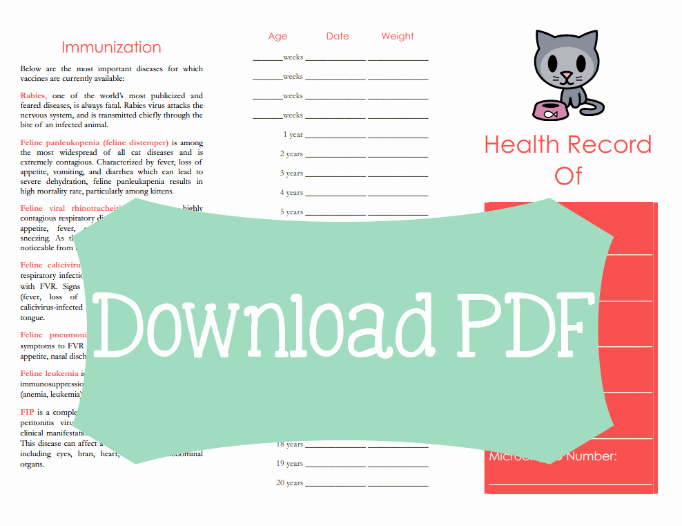Dog Shot Record Template Lovely Free Cat Medical Tracker Printable