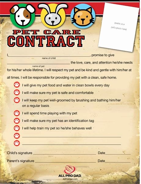 Dog Training Contract Template Beautiful Pet Care Contract and