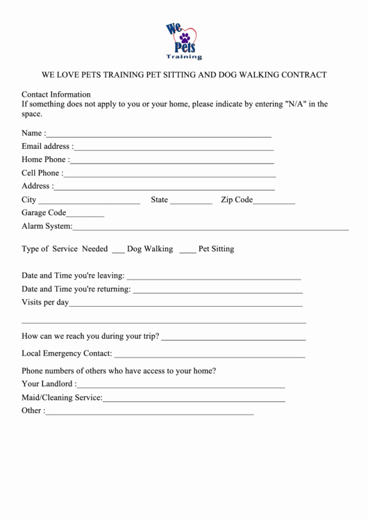 Dog Training Contract Template Elegant top Pet Sitting Contract Templates Free to In Pdf