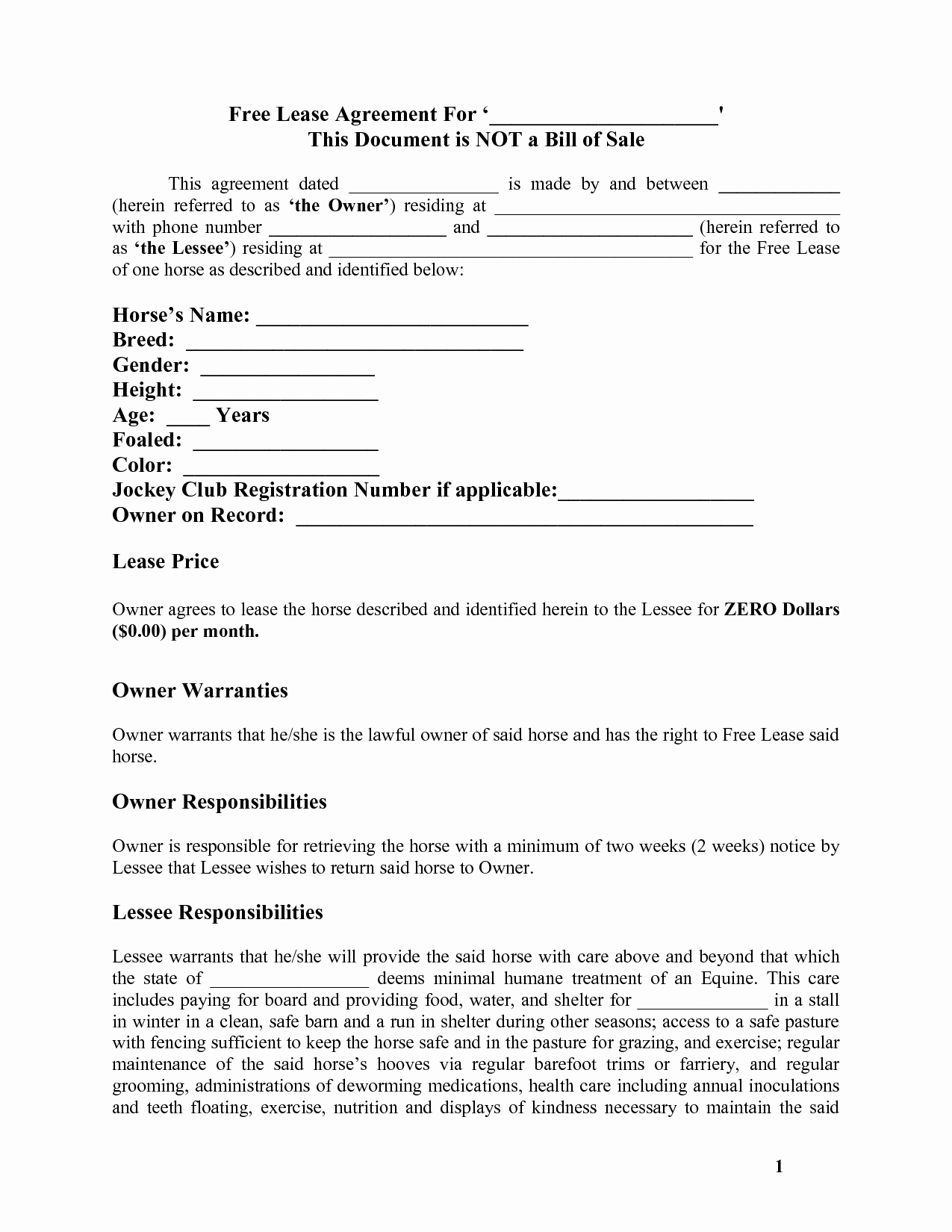 Dog Training Contract Template New Horse Template Printable