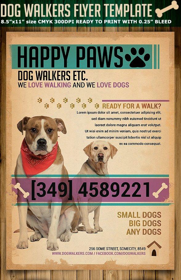 Dog Walking Template Beautiful Dog Walkers Flyer Template