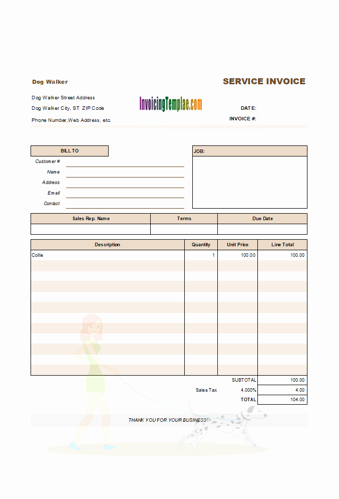 Dog Walking Template Best Of General Service Invoice
