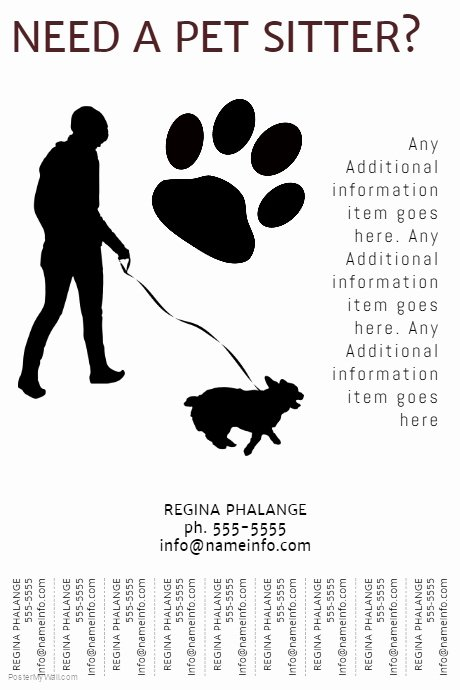 Dog Walking Template New Printable Pet Sitter Flyer Template with Tear Off Tabs