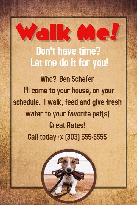 Dog Walking Template Unique Dog Walker Groomer Pet Sitter Flyer Poster Announcement