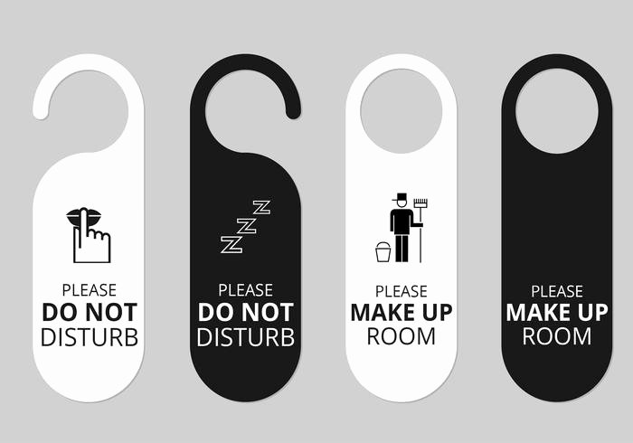 hotel door hanger tags psd set
