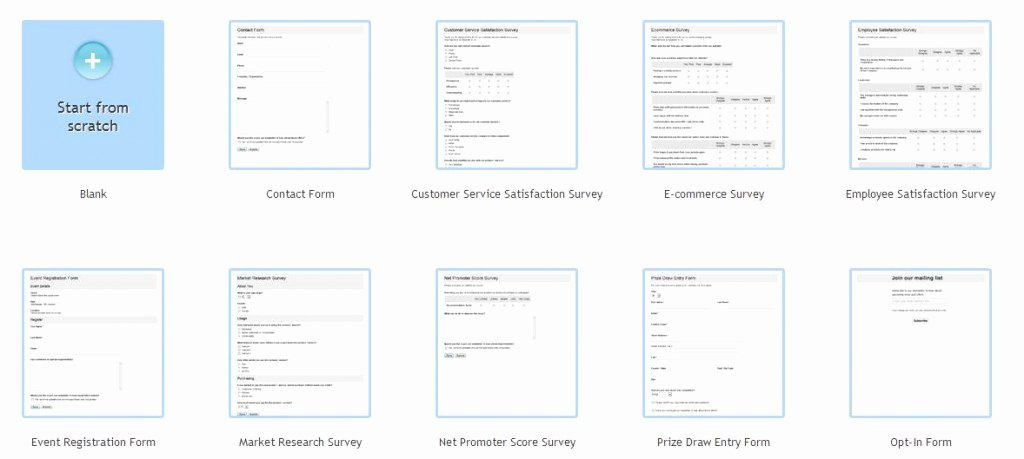 how to create a survey or form