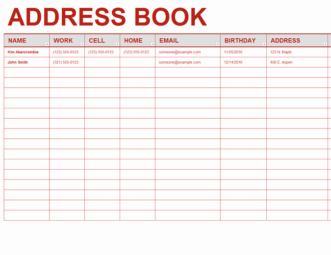 Editable Address Book Template Fresh Personal Address Book