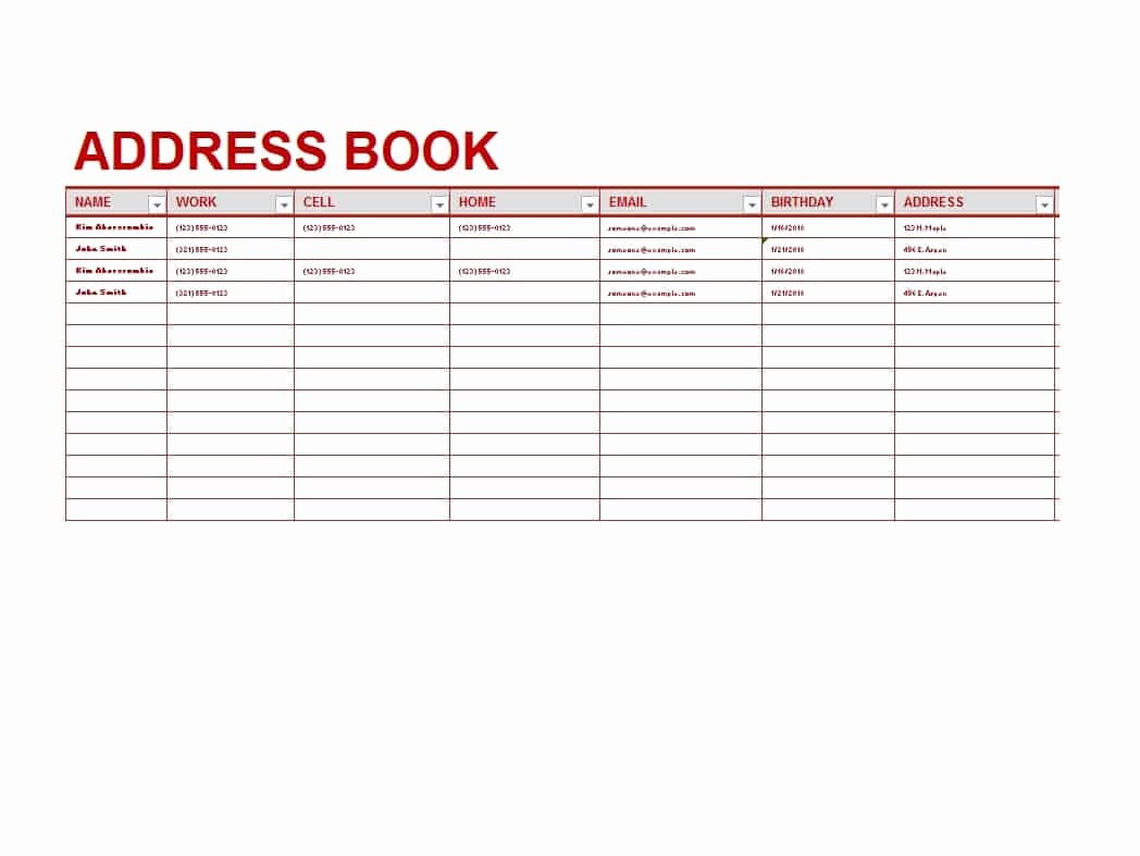 Editable Address Book Template Lovely 40 Printable & Editable Address Book Templates [ Free]