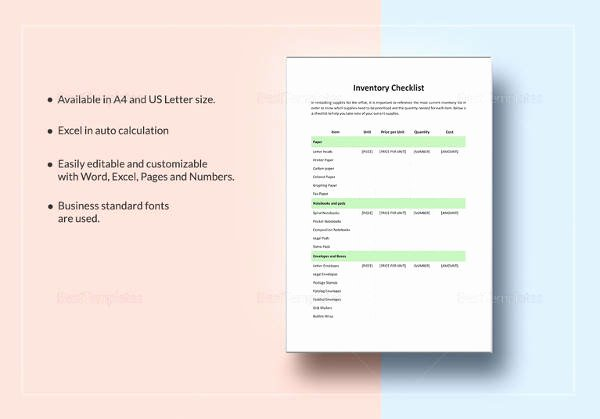 Editable Checklist Template Word Awesome Sample Food Inventory 10 Document In Pdf Excel