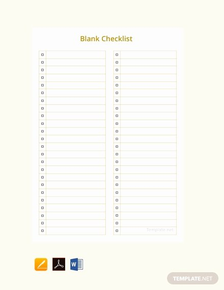 Editable Checklist Template Word Best Of Free Blank Checklist Template Download 149 Checklists In