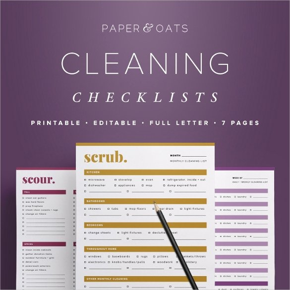 Editable Checklist Template Word Inspirational Cleaning Checklist Template 35 Word Excel Pdf