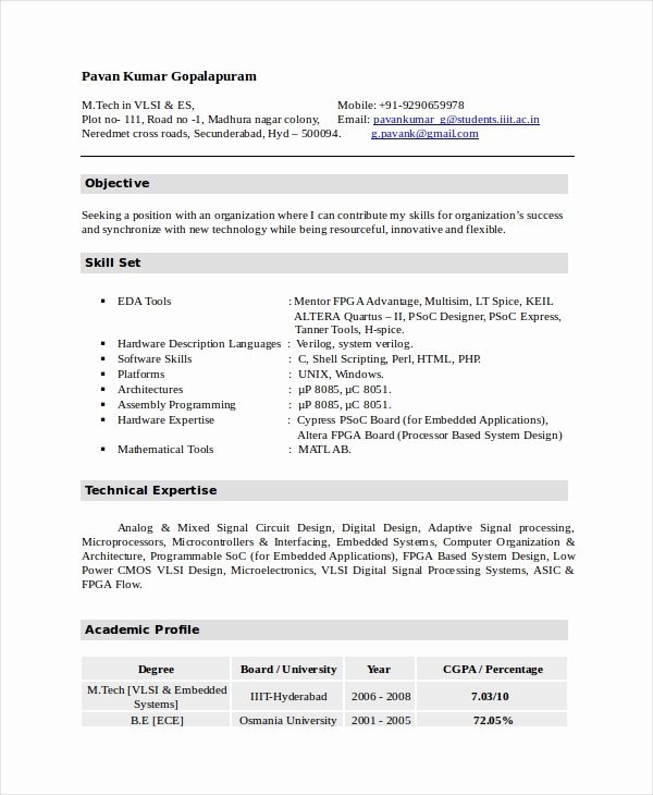 Electronics Technician Resume Sample Beautiful Electronics Resume Template 8 Free Word Pdf Document