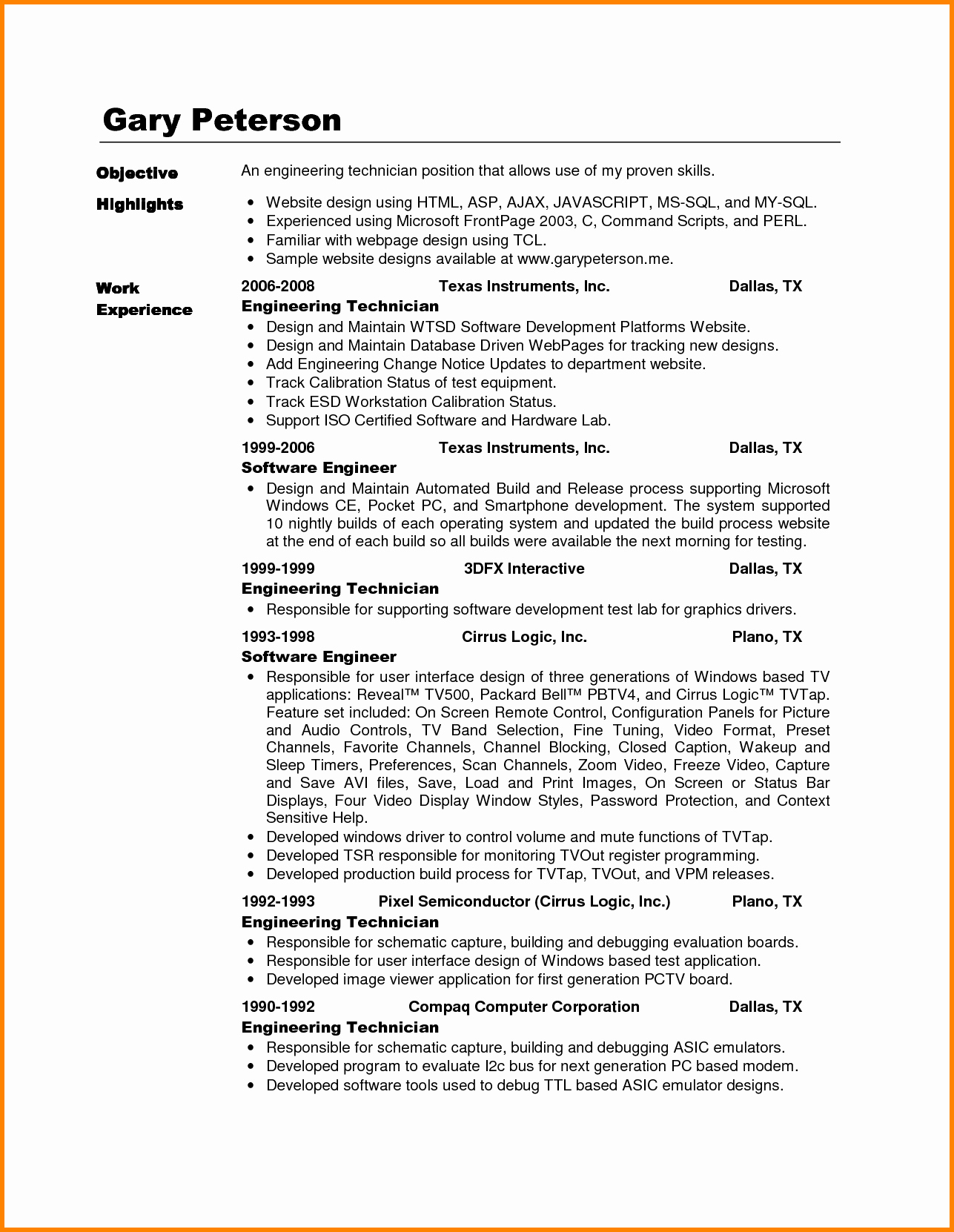 Electronics Technician Resume Sample Best Of 9 Electronics Technician Cv Sample