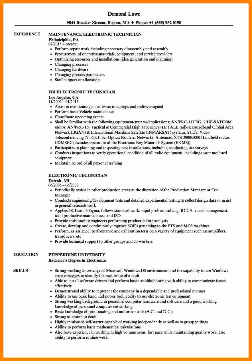 Electronics Technician Resume Sample Elegant 8 Electronics Technician Resume