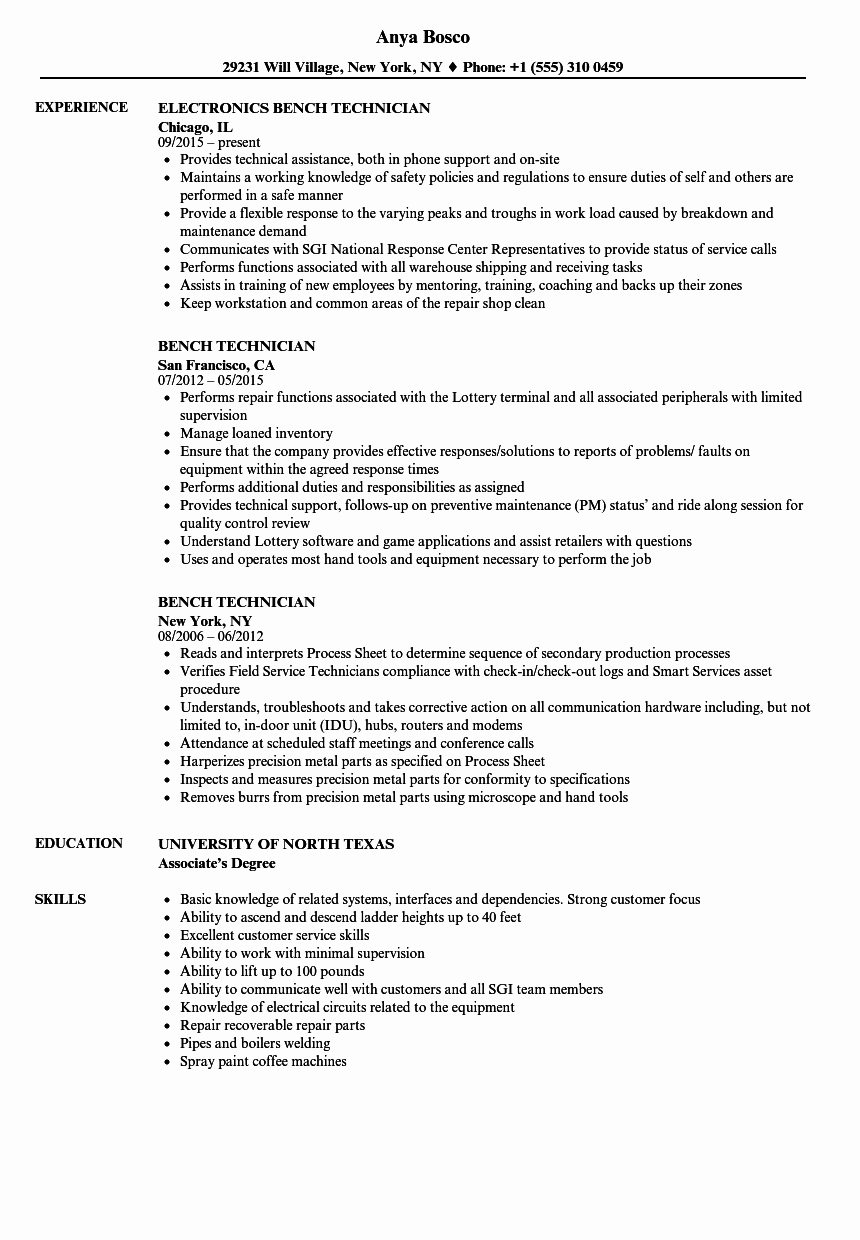 Electronics Technician Resume Sample Elegant Bench Technician Resume Samples
