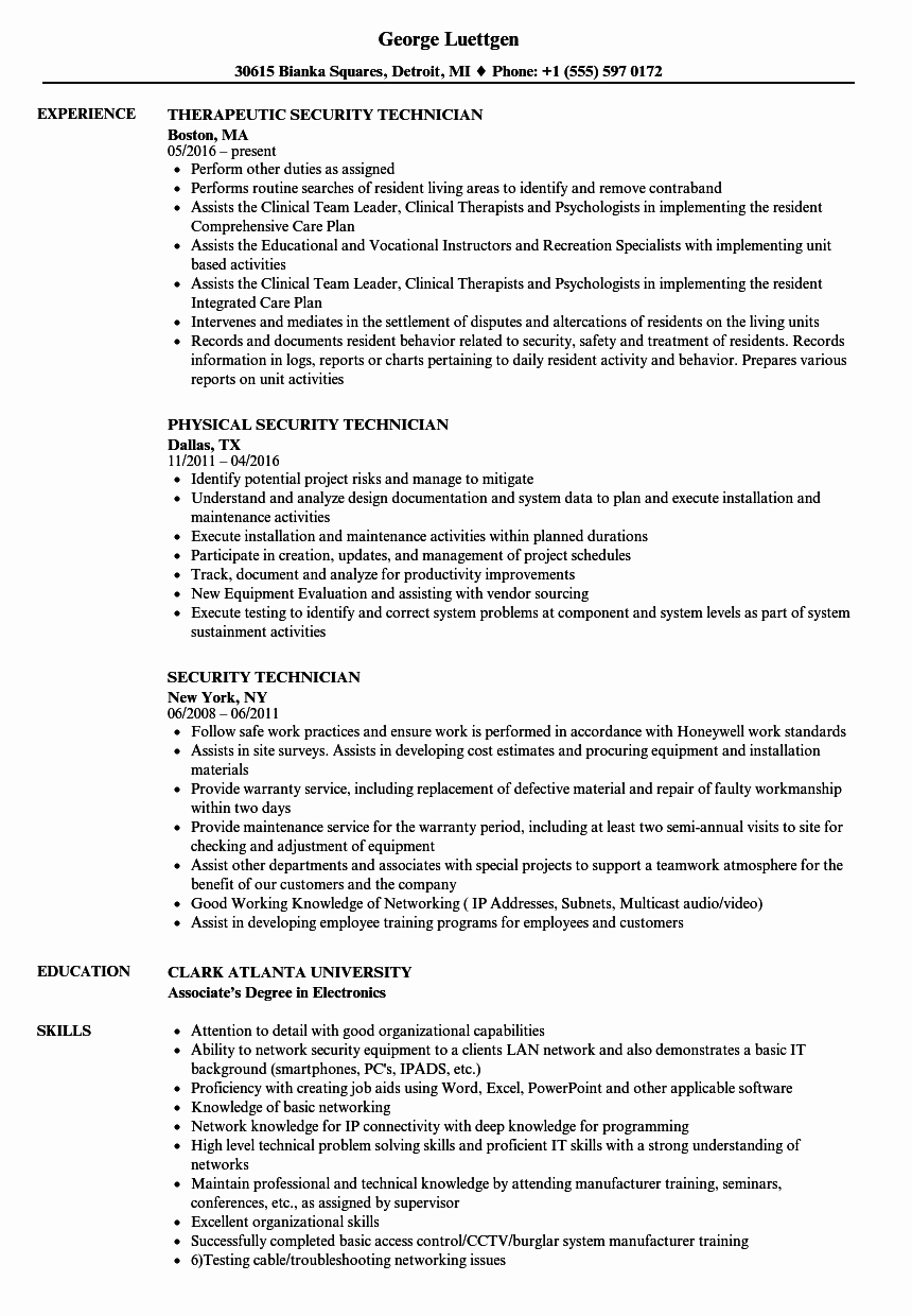 Electronics Technician Resume Sample Elegant Security Technician Resume Samples