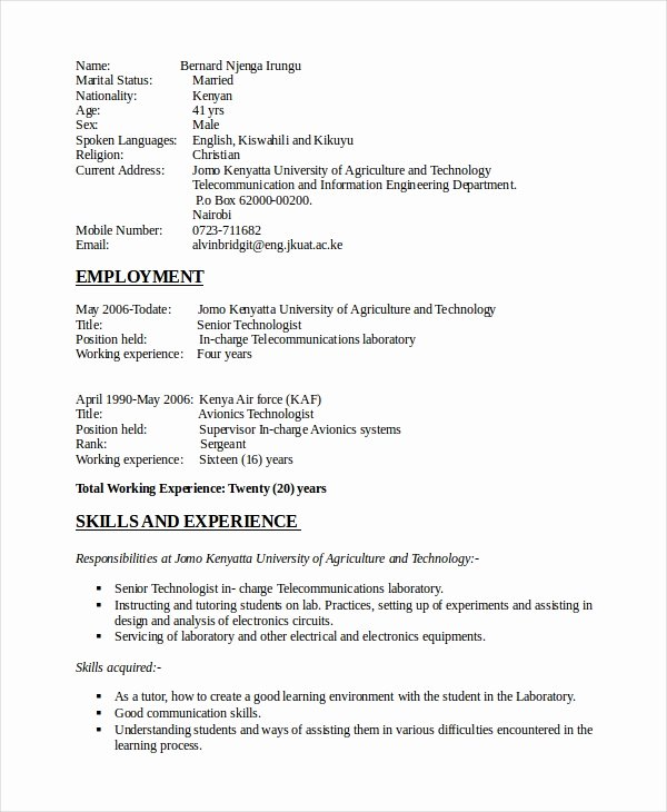 Electronics Technician Resume Sample Fresh Electronics Resume Template 8 Free Word Pdf Document