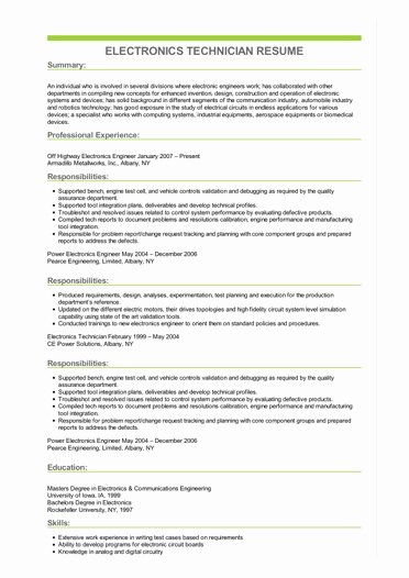 Electronics Technician Resume Sample Fresh Sample Electronics Technician Resume