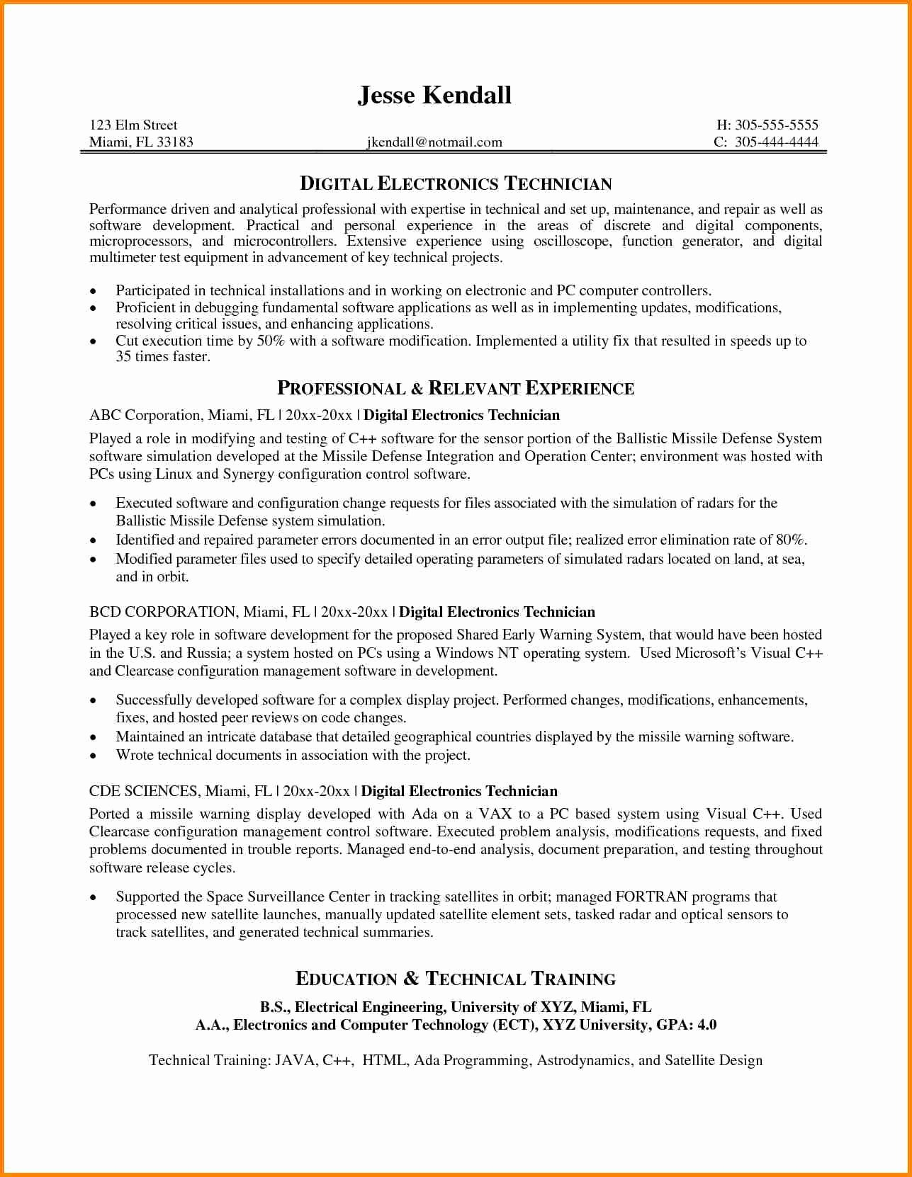 Electronics Technician Resume Sample Lovely 9 Electronics Technician Cv Sample