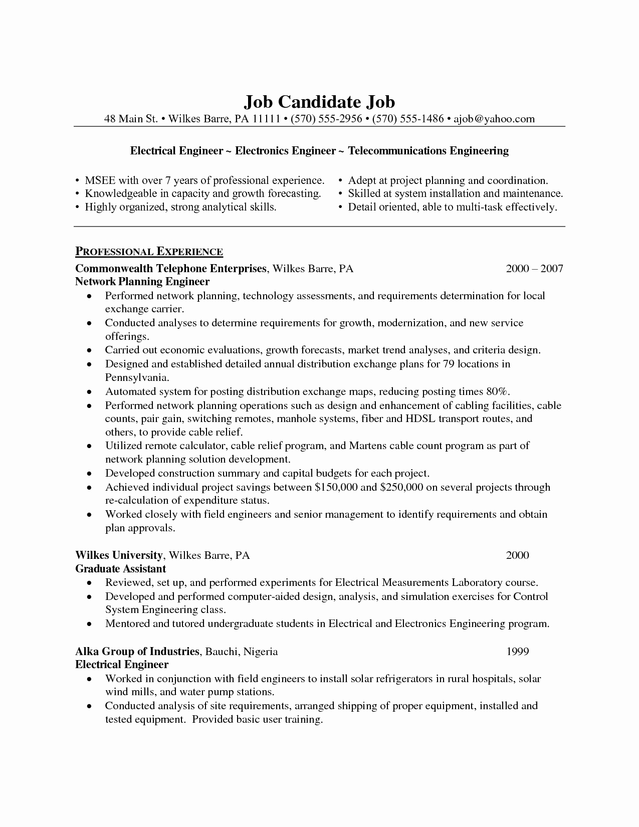 Electronics Technician Resume Sample Luxury Resume Sample for Electronics Engineer Resume Ideas