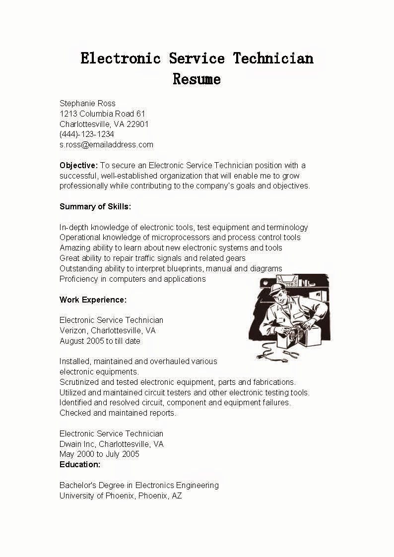 Electronics Technician Resume Sample Unique Resume Samples Electronic Service Technician Resume Sample