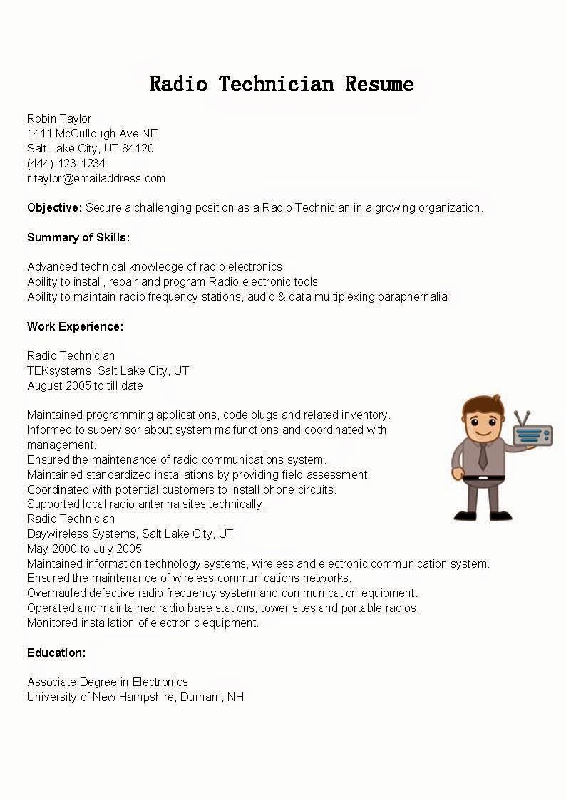 Electronics Technician Resume Sample Unique Resume Samples Radio Technician Resume Sample