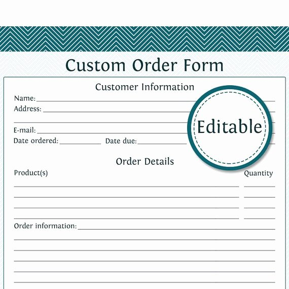 Embroidery order form Template Awesome Custom order form Editable Business Planner by