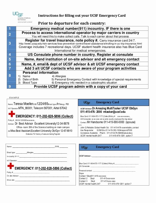 Emergency Card Template Awesome Ucsf Wallet Card Template