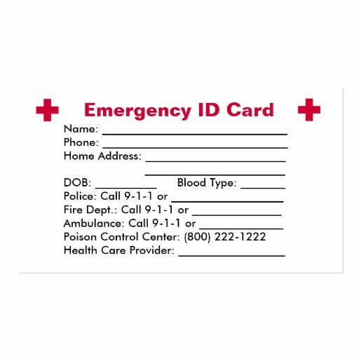 Emergency Card Template Beautiful Emergency Id Card Business Card Templates