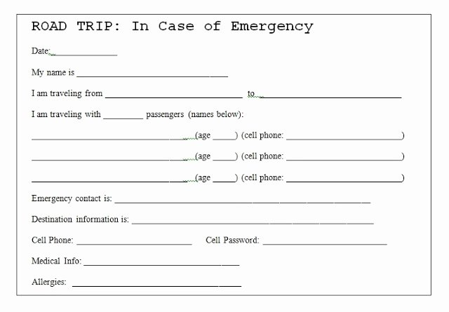Emergency Card Template Best Of 504 Main by Holly Lefevre Road Trip Safety Tip Emergency
