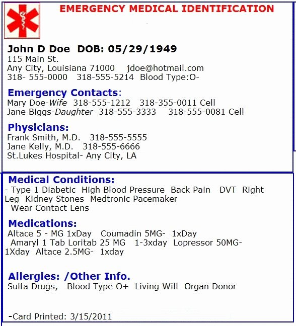Emergency Card Template Best Of Emergency Card Template Beepmunk