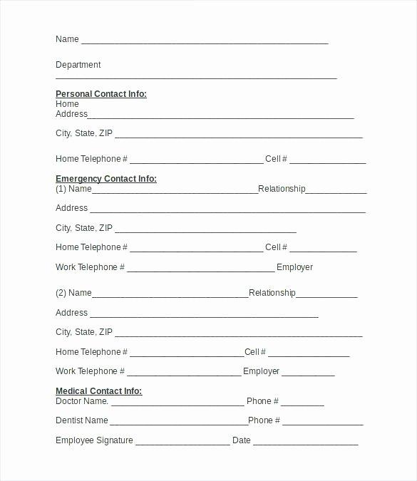 Emergency Card Template Elegant 15 Employee Information Sheets