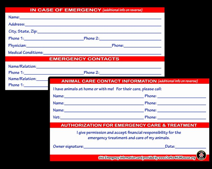 Emergency Card Template Fresh Emergency Information Card Template