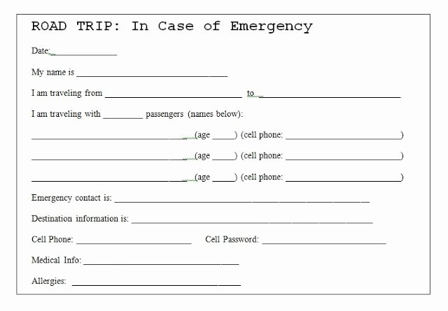 Emergency Card Template Fresh In Case Emergency Card Template Twpiratebay