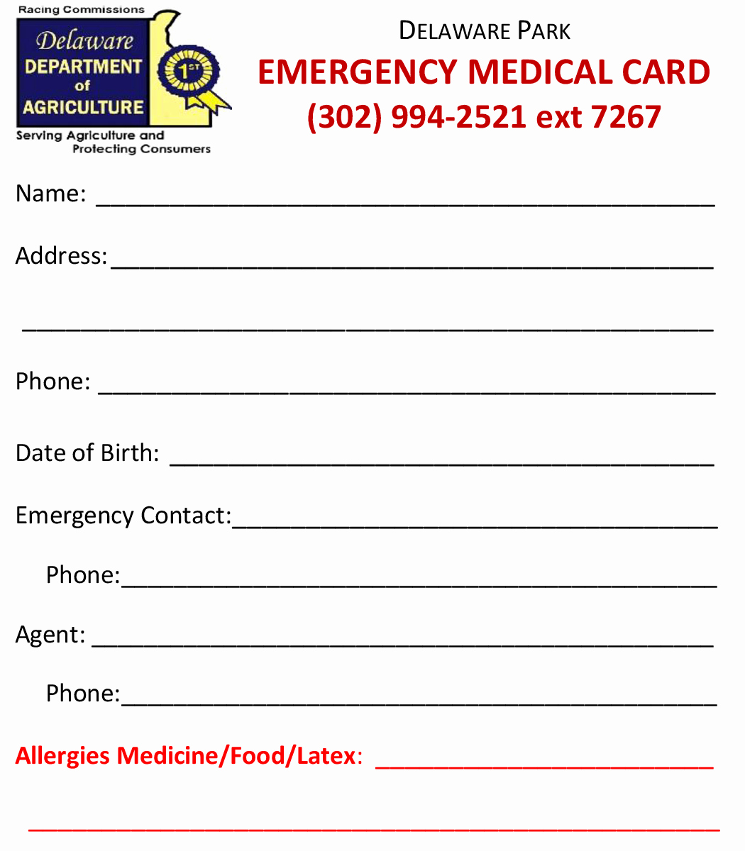 Emergency Card Template Inspirational Delaware Jockeys association