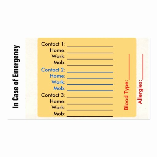 Emergency Card Template Inspirational In Case Emergency Business Cards 49 In Case