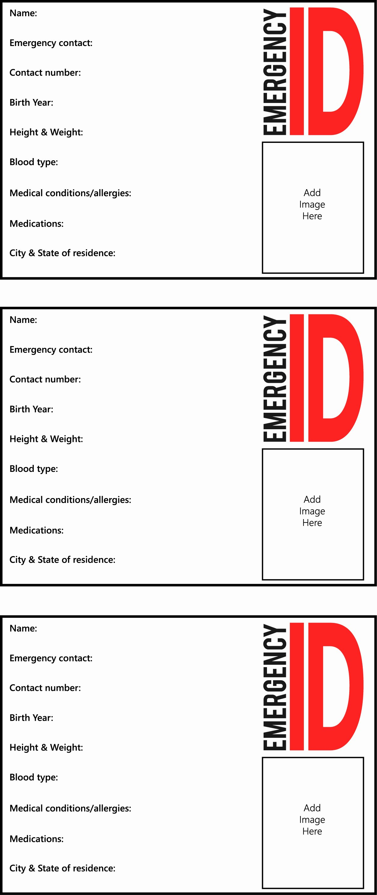 Emergency Card Template Luxury 25 Of Early Childhood Emergency Card Template