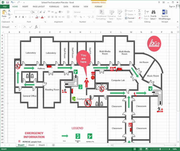 Emergency Evacuation Map Template Unique Create Evacuation Plan for Excel