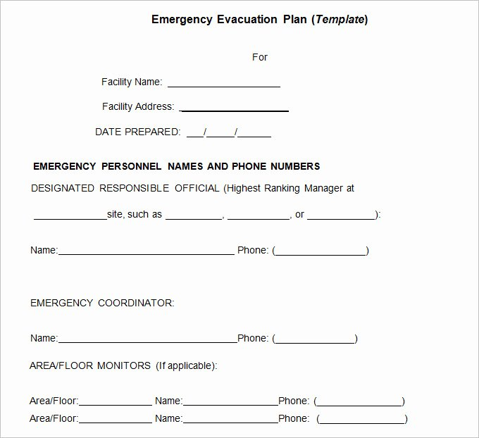 Emergency Evacuation Plan Template Free Fresh 3 Emergency Evacuation Plan Template Word Pdf Google